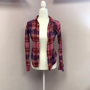 American Eagle Outfitters XS Plaid Button Up
